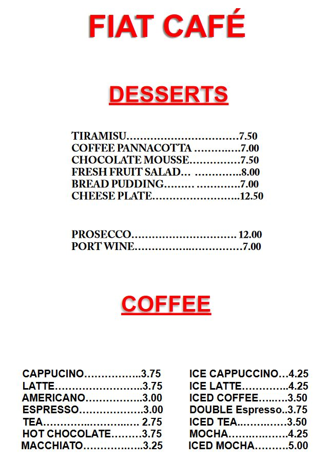 Fiat Desserts and Coffee